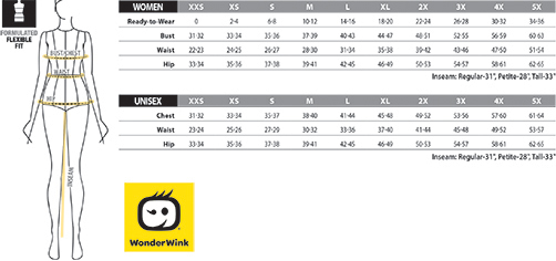 WonderWork Unisex Womens Sizing Chart