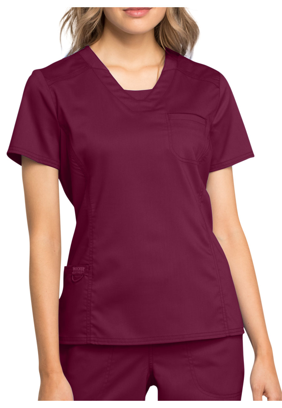 ac0c07b4a43 Cherokee Workwear Revolution V-Neck Scrub Top With Knit Contrast – Scrubs  Direct